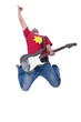 passionate guitarist making a jump