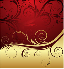 red and gold floral background