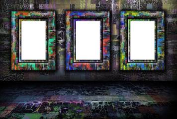Grunge background with frames