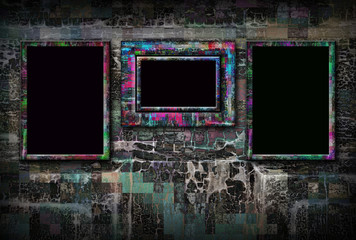 Grunge background and three frames