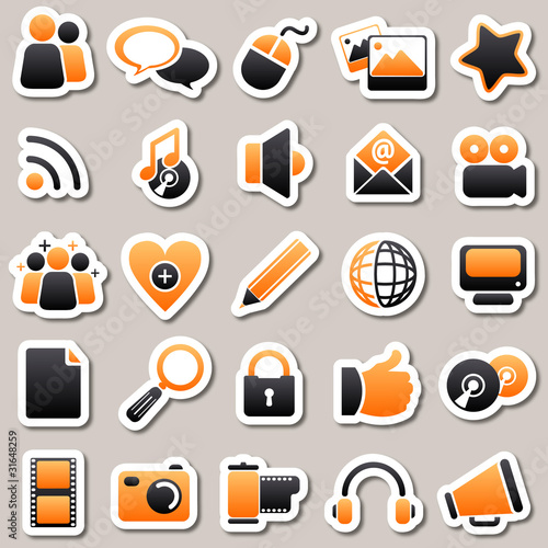 social Media Orange Stickers