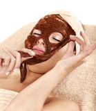 Girl with algae facial mask. poster