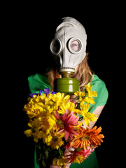 Young woman  in gas mask .