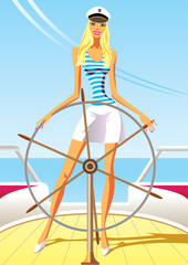 beautiful woman on the luxury yacht - vector illustration