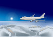 plane in blue sky illustration