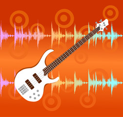 electro guitar on abstract colorful equalizer bar background.