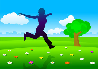 silhouette of attractive moman running on summer meadow.