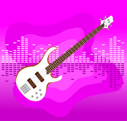 white electro guitar on colorful equalizer bar background.
