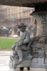 Donau waiting for water. Fountain on the Schlossplatz, Stuttgart