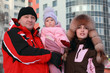 mother and father kept daughter, winter, multistore building