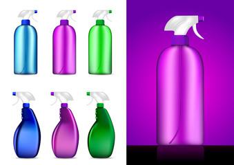 Colorful Spray bottles vector illustrations