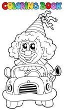 Kolorowanka z Klaun w samochodzie
