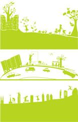 3 cityscape in green