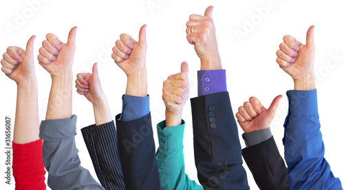 Business team thumbs up for support