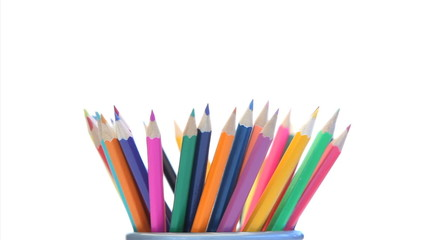 Color pencils in a pencil holder turning