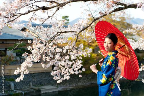 Japanese Woman Umbrella Japanese Kimono Woman And