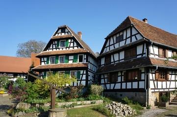 Fachwerkhäuser Dorf Hunspach, Elsass, Frankreich