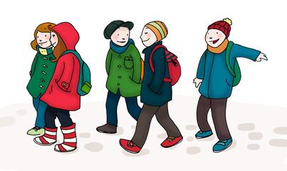 Un gruppo di bambini camminano insieme