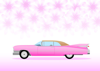 Pink car with pink flowers