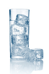 Full glass of fresh cool carbonated water with ice isolated