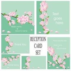 wedding or reception card set in green