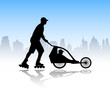 rollerskater pushing stroller with child in it - vector