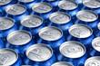 Macro of metal cans with refreshing drinks or beer