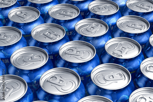 Macro of metal cans with refreshing drinks or beer
