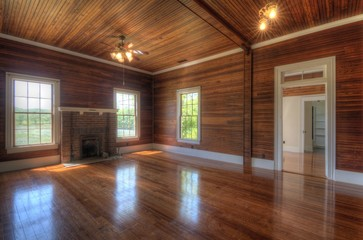 Interior Living Room with Wood Paneling