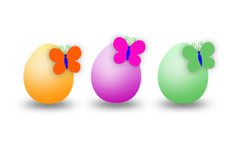 three eggs and three butterfly