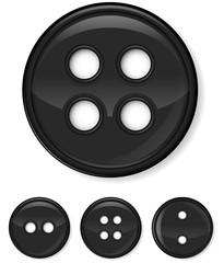 set of glossy black buttons isolated on white background