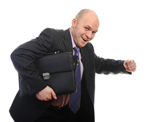 Businessman with portfolio.