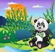 Cartoon panda in bamboo forest