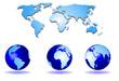 mapa mundial y globo terraqueo