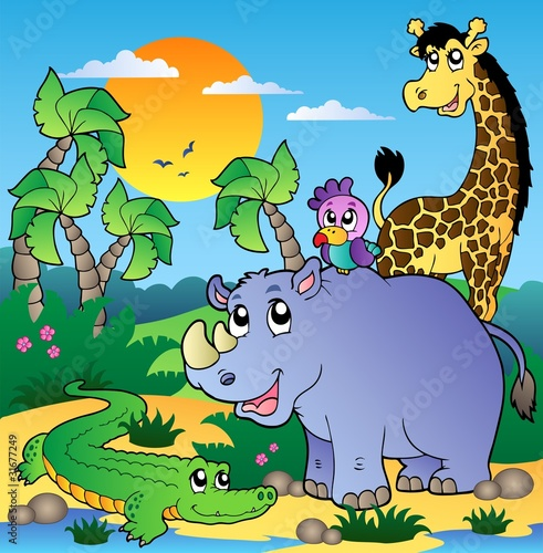 African scenery with animals 3