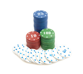 Big win - stack of poker chips