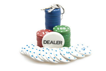 All in - poker chips and the keys