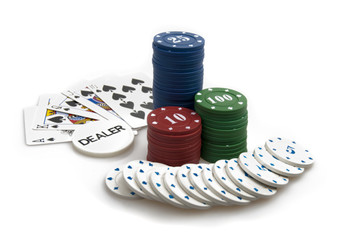 Winning hand - poker chips and royal flush