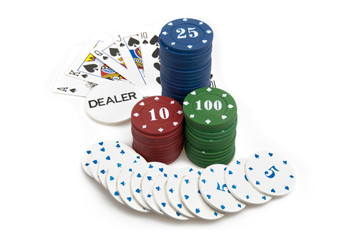 Big win - poker chips and royal flush