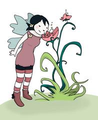 fatina annusa un fiore