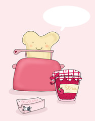 Una felice colazione con un sorridente toast parlante
