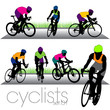 Cyclists silhouettes set