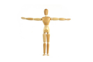 Wooden manikin arms spread out