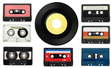 Fototapety music audio tape and vinyl disc vintage