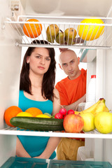 Couple with healthy food
