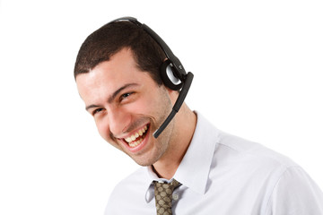 Happy phone operator