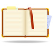 Vector notepad organizer with bookmark