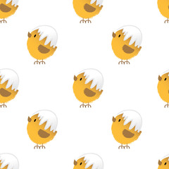 Seamless background with fluffy easter chicken