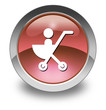 "Red Glossy Pictogram ""Stroller / Baby Transport"""