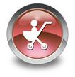 "Red Glossy Pictogram ""Stroller / Baby Transport"""
